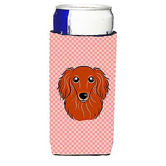 Checkerboard Pink Longhair Red Dachshund Ultra Beverage Insulators for slim cans