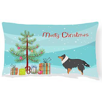 Sheltie/Shetland Sheepdog feliz Navidad árbol lienzo tejido decorativo de la almohadilla