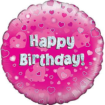 Oaktree 18 Inch Happy Birthday Pink Holographic Balloon