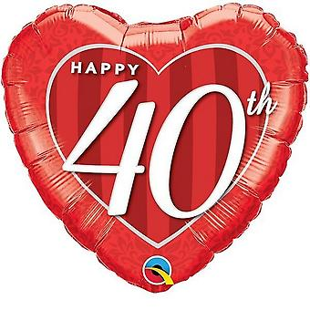 Qualatex 18 Inch Happy 40th Damask Heart Foil Balloon