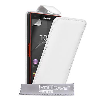 Sony Xperia Z4 kompakt-Lederoptik Flip Case - weiß