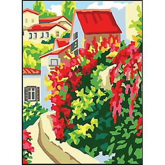 Collection D'Art Needlepoint Printed Tapestry Canvas 30X40cm-Red Roofs CD6324