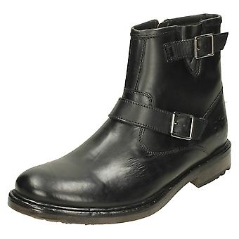 Mens Base London Buckle Detail Ankle Boots Zinc - Waxy Black Leather - UK Size 6 - EU Size 40 - US Size 7