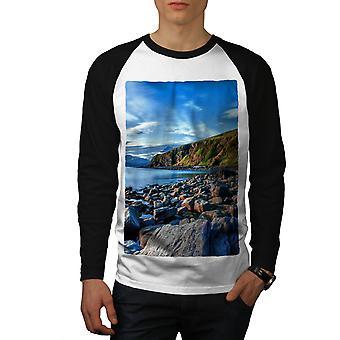 Lake Sky Wild Photo Men White (Black Sleeves)Baseball LS T-shirt   Wellcoda