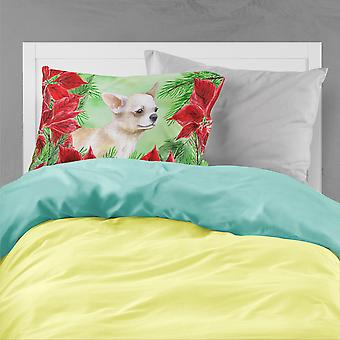 Chihuahua Leg up Poinsettas Fabric Standard Pillowcase