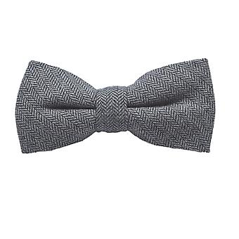 Silver Grey Herringbone Bow Tie