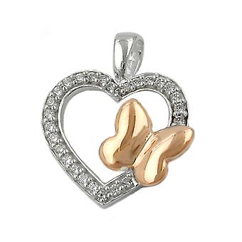 Heart with zirconia and butterfly 925 silver pendant
