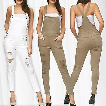 Women's pants of ripped jeans pants stretch skinny tube Treggings braces