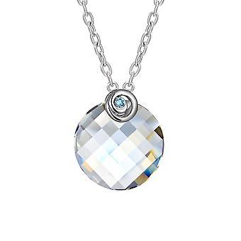 Collier Cercle orné de Cristal Blanc Swarovski et Plaqué Rhodium