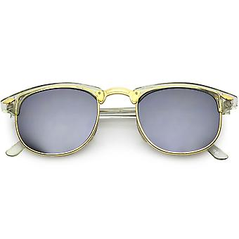 True Vintage Horn Rimmed Semi-Rimless Sunglasses Square Mirrored Lens 48mm