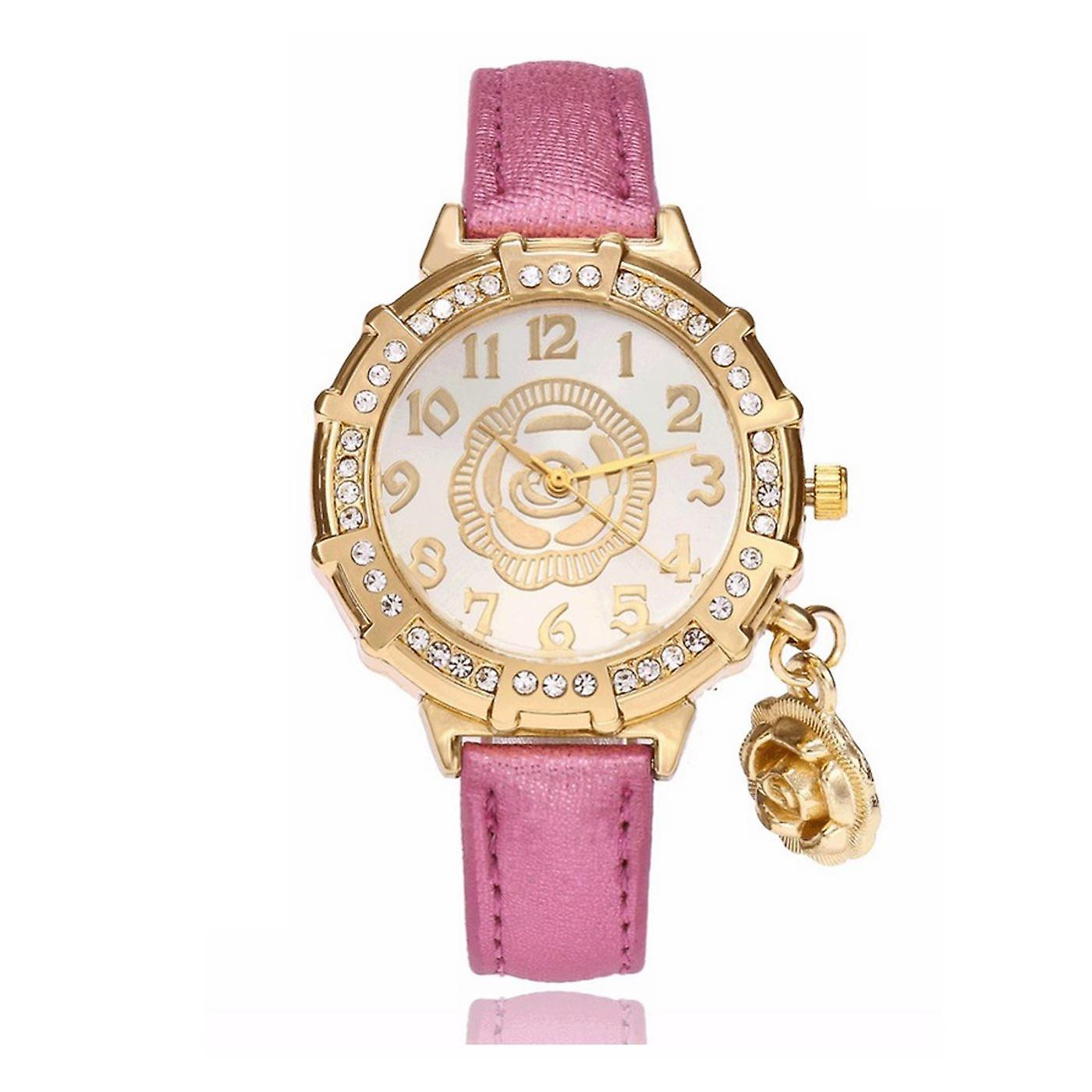 Classy Yellow Gold Flower Watch Luxury Stones Elegant Time PINK