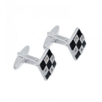 Men - cuff links - fire enamel - black - 1.4 cm