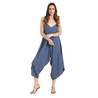 Ladies Lightweight Linen Culotte Dress - Light Blue One Size Loose Fit