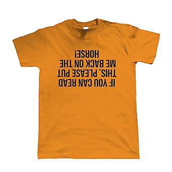 Als je dit kunt lezen Mens grappig Paardensport T Shirt