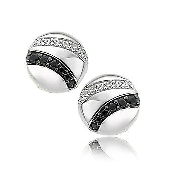 Orphelia Silver 925 Earring Black&White Zirconium  ZO-5952