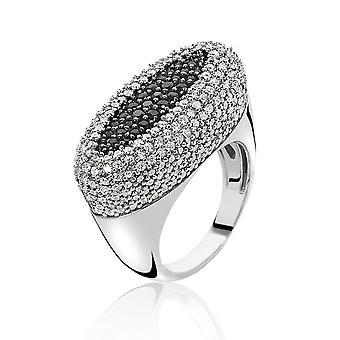 Orphelia Silver 925 Ring Black & White Pave  Zirconium   ZR-3891