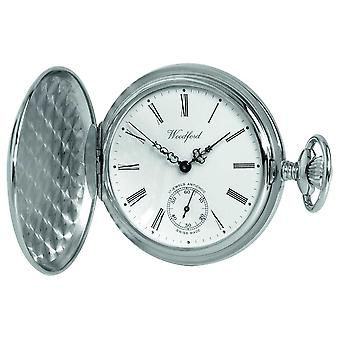 Woodford Chrome White Dial Full Hunter Mechanical Pocket 1061 Watch