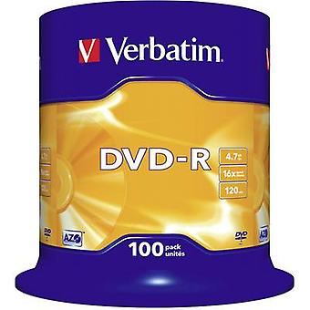 Blank DVD-R 4.7 GB Verbatim 43549 100 pc(s) Spindl