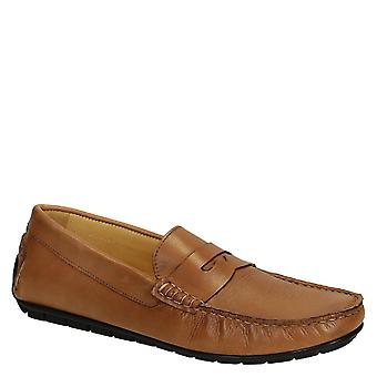 Men's driving moccasin in light brown calf leather