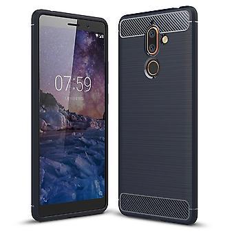 7 Nokia además de TPU caso óptica de fibra de carbono cepillada azul caja protectora
