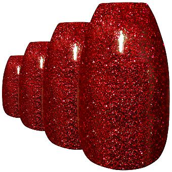 False nails by bling art red gel ballerina coffin 24 fake long acrylic tips