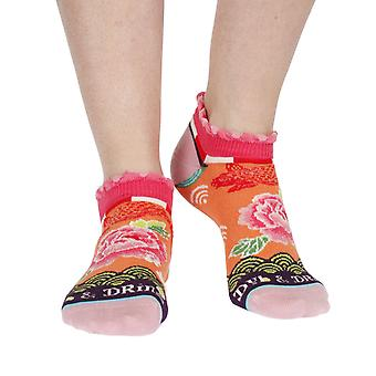 Japanese women's cotton anklet socks in orange | By Dub & Drino