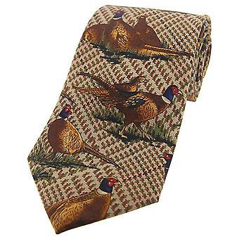 David Van Hagen permanent fazanten Tweed land zijden stropdas - Brown