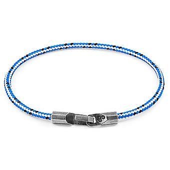 Anchor and Crew Talbot Silver and Rope Bracelet - Blue Dash