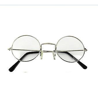 TRIXES Unisex Silver Retro Sixties Style Round Metal Glasses