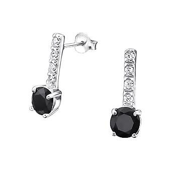 Round - 925 Sterling Silver Cubic Zirconia Ear Studs - W20326X