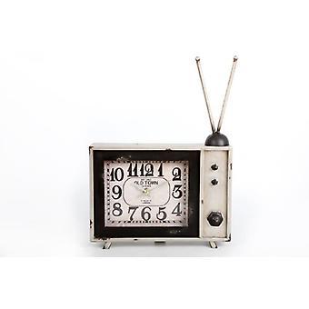 35X25Cm Tv Vintage White Metal horloge décoration