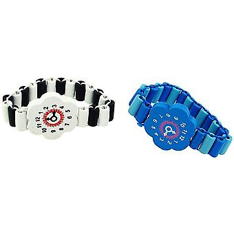 TOC Childrens Pack of 2 Black / White & Blue Wood Bead Flower Watch Bracelet