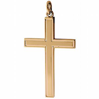 9ct Gold 40x25mm engine turned line border solid block Cross