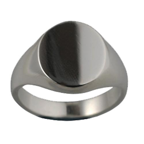 18ct white gold gents plain oval signet ring 16x14mm