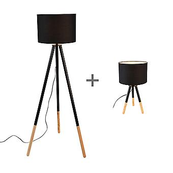 QAZQA conjunto de lámpara y trípodes de lámpara de mesa con pantalla en negro - Pip