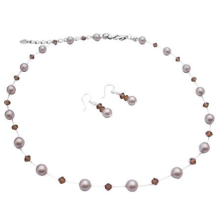 Wedding Jewelry Fashion Jewelry Platinum Pearls Smoked Topaz Crystals