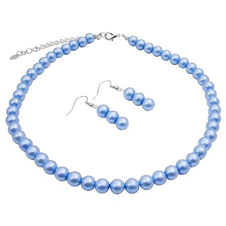 Synthetic Pearl 16 Inches Necklace Light Cool Blue Pearls Jewelry Set