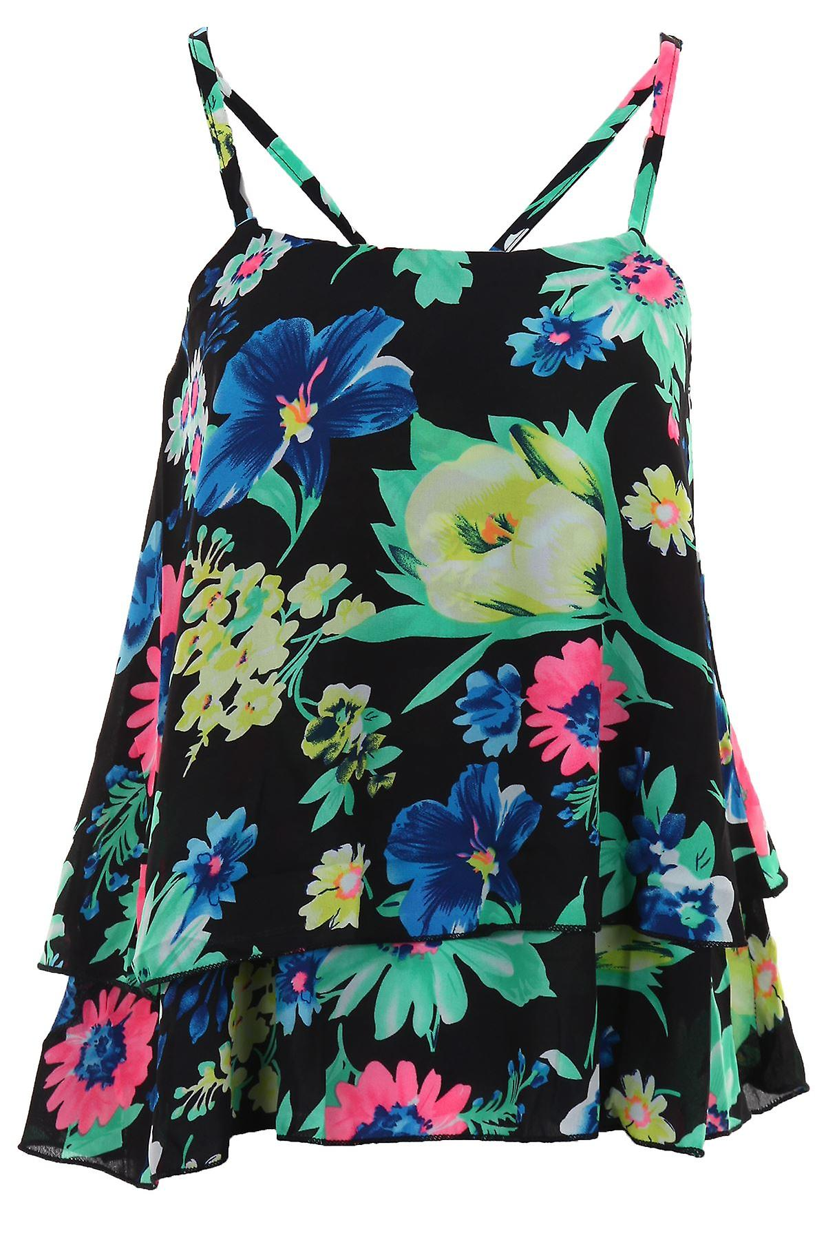 Ladies Frill Chiffon Short Crop Layered Strappy Floral Print Women's Vest Cami Top