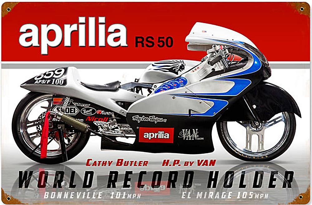 Aprilia RS50 World Record Holder rusted steel sign  (pst 1812)