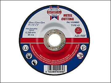 Faithfull Cut Off Disc for Metal Depressed Centre 125 x 3.2 x 22mm