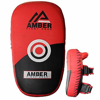 Amber Fight Gear Muay Thai MMA Kickboxing Pads Training Punch Sheilds Curved Kick Pads Pair