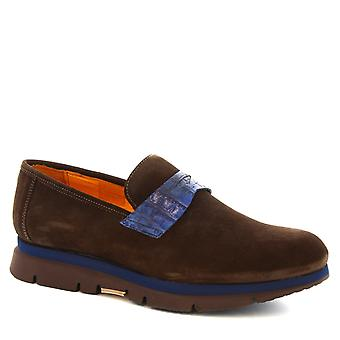 Leonardo Shoes Man's handmade moccasins shoes in dark brown suede leather