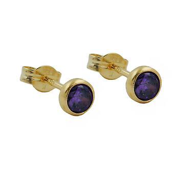 Pendientes Amatista pendiente enchufe 4 mm 8 púrpura cúbicos Circonia amatista kt dorado 333