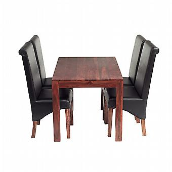 Oslo Sheesham 4 Seater Dining Set With Leather Chairs