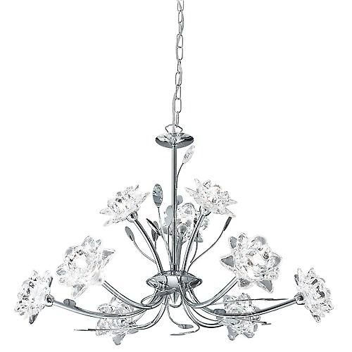 Searchlight 8289-9CC Bellis 9 Arm Chrome Pendant With Clear Flower Glass