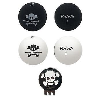 Volvik Vivid skull Edition Golf bollar (2 svart, 2 vit) & hat Clip