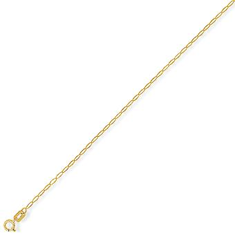 Jewelco London 9ct Giallo Chiaro Oro - Ovale Belcher Pendant Chain Collana - calibro 1.6mm