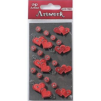 Double Red Hearts And Flowers Craft Embellishment By Artoz