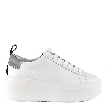 Ash Footwear Moon White And Grey Leather Platform Trainer