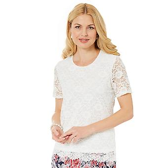 Ladies Womens Lace Top With Scalloped Hem